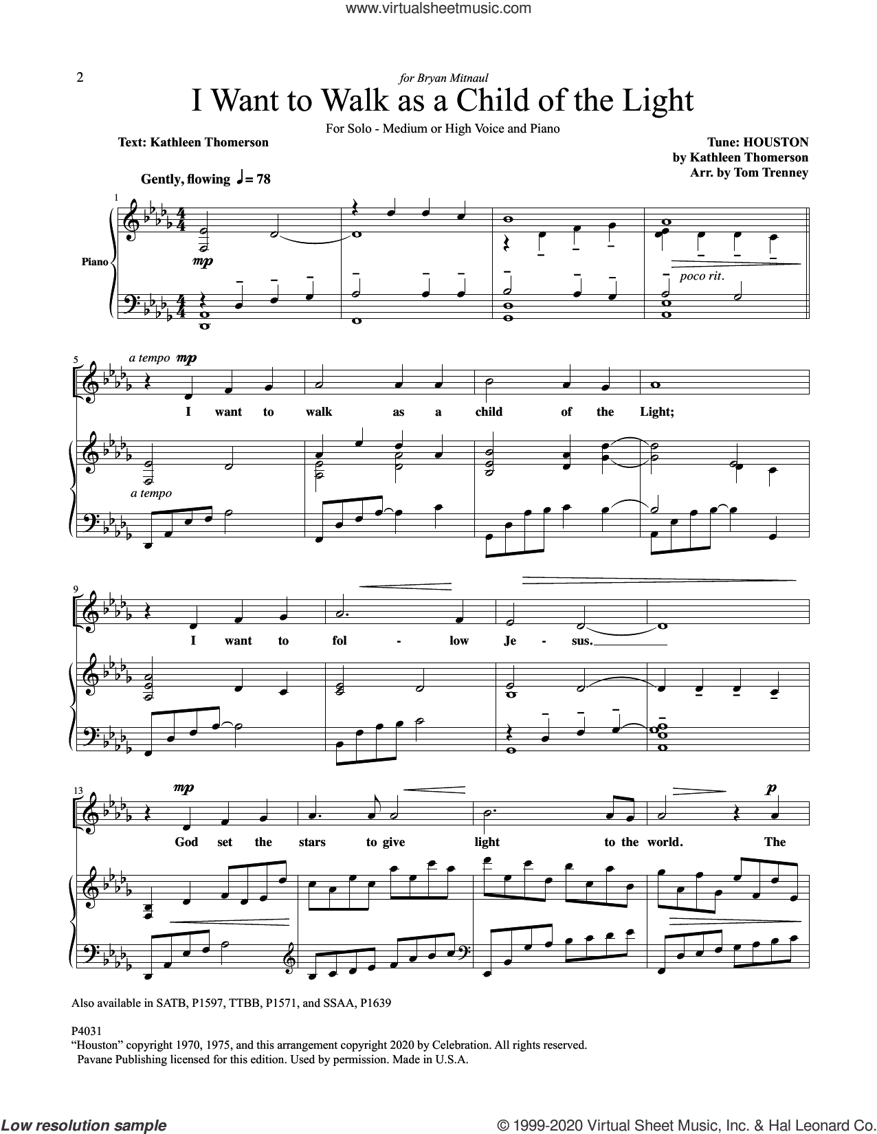 I Want To Walk As A Child Of The Light sheet music for voice and piano by Kathleen Thomerson and Tom Trenney, intermediate skill level