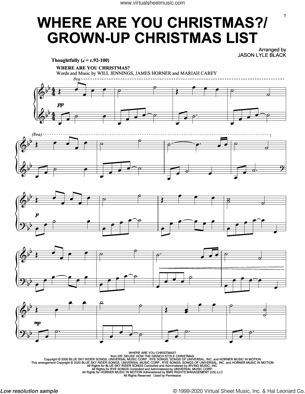 Where Are You Christmas?/Grown-Up Christmas List sheet music for piano solo by Mariah Carey, Jason Lyle Black, Amy Grant, Faith Hill, David Foster, James Horner, Linda Thompson-Jenner and Will Jennings, intermediate skill level