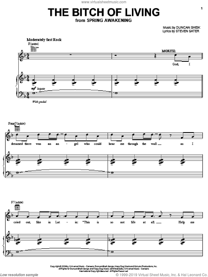 The Bitch Of Living sheet music for voice, piano or guitar by Duncan Sheik, Spring Awakening (Musical) and Steven Sater, intermediate skill level