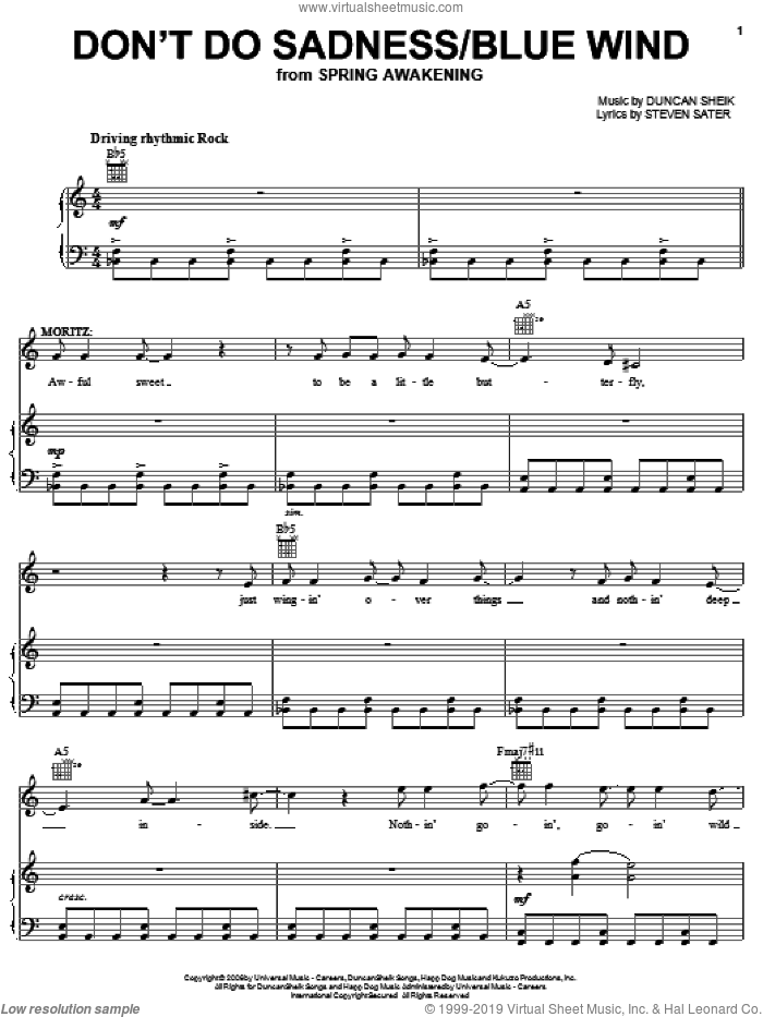 Don't Do Sadness/Blue Wind sheet music for voice, piano or guitar by Duncan Sheik, Spring Awakening (Musical) and Steven Sater, intermediate skill level