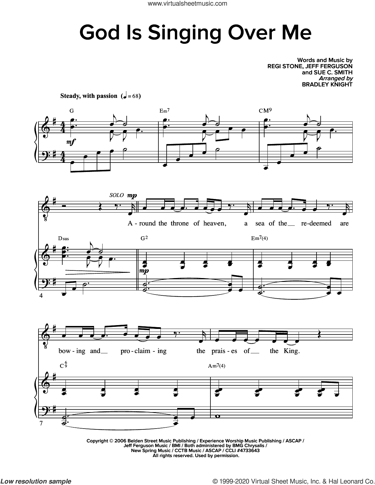 God Is Singing Over Me (arr. Bradley Knight) sheet music for voice and piano by Regi Stone, Bradley Knight, Jeff Ferguson, Regi Stone, Jeff Ferguson and Sue C. Smith and Sue C. Smith, intermediate skill level