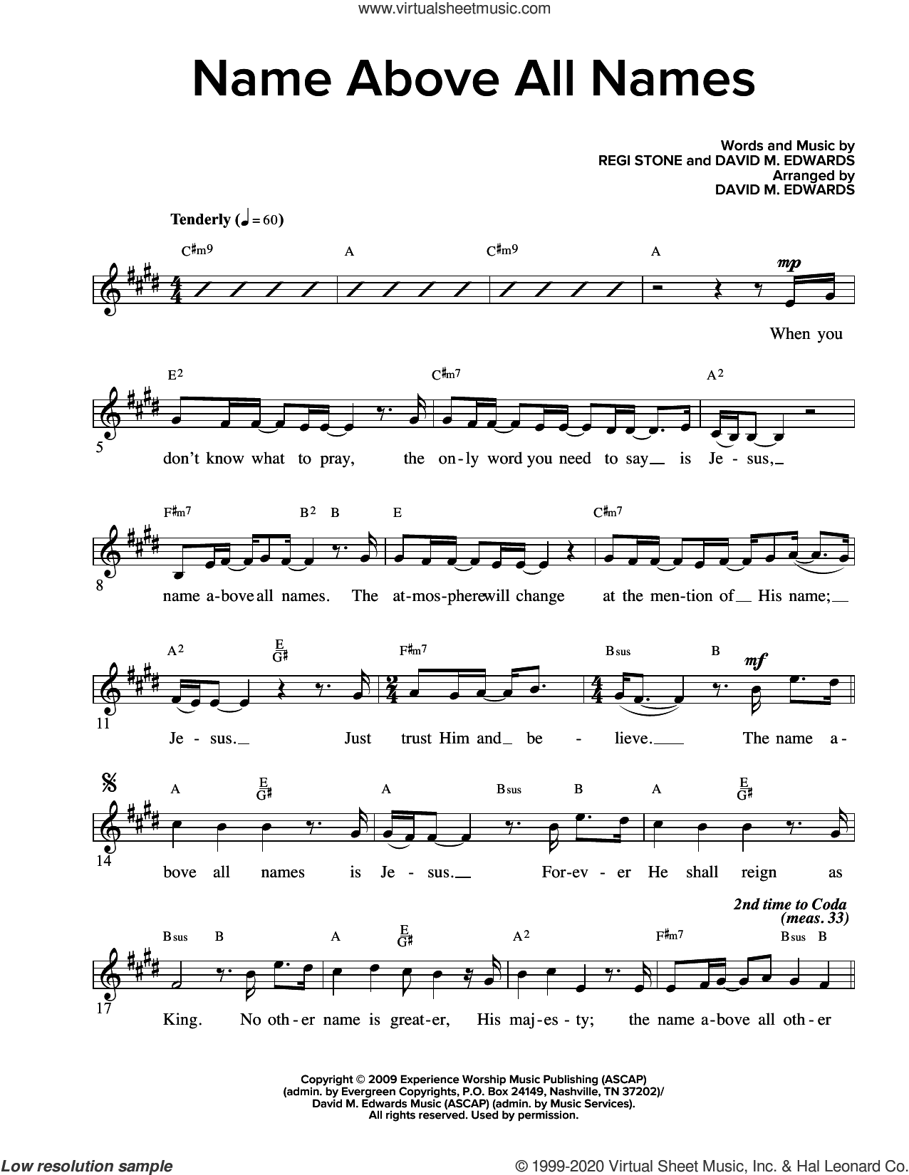 Name Above All Names (arr. David M. Edwards) sheet music for voice and other instruments (fake book) by Regi Stone, David M. Edwards and Regi Stone and David M. Edwards, intermediate skill level