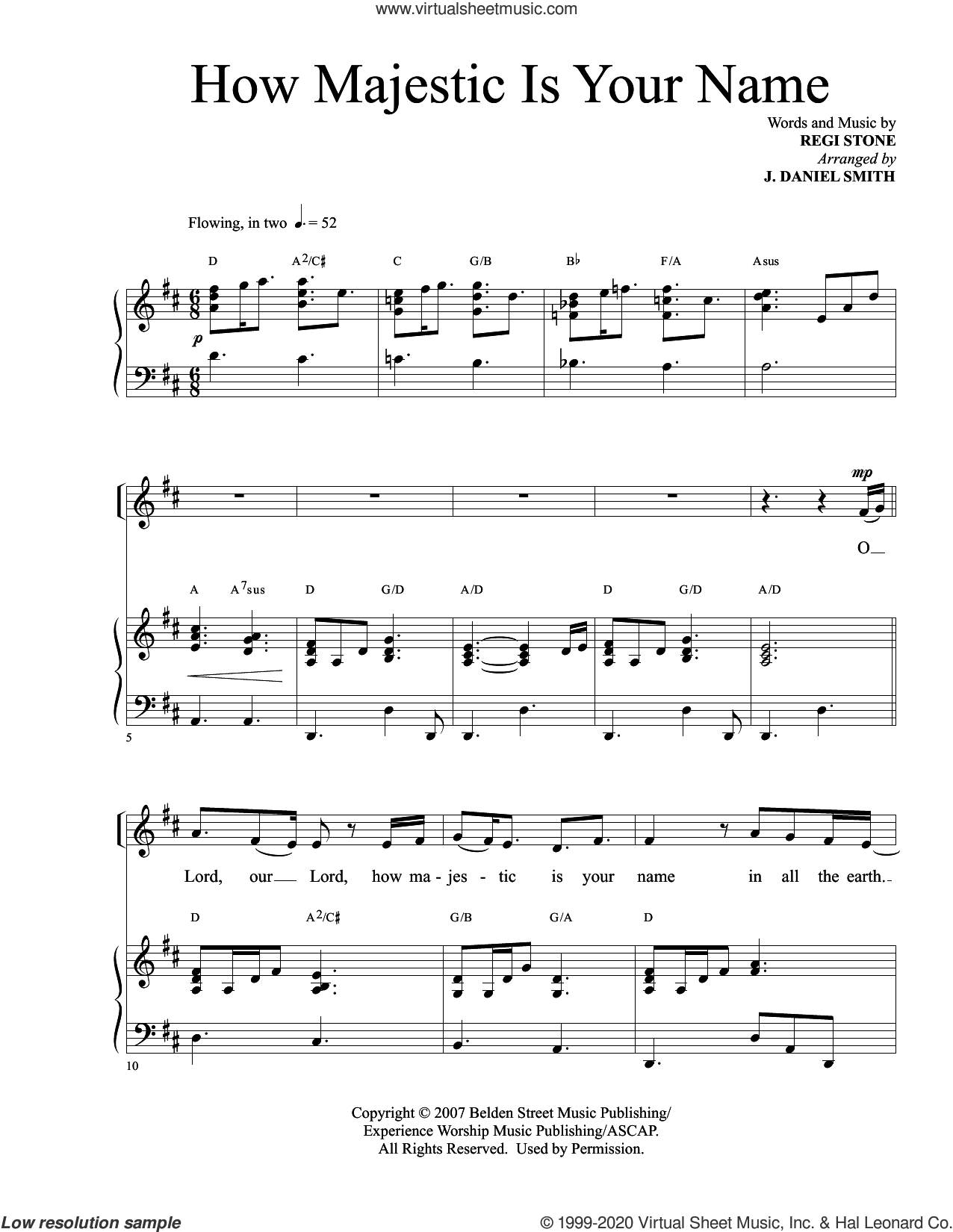 How Majestic Is Your Name (arr. J. Daniel Smith) sheet music for voice and piano by Regi Stone and J. Daniel Smith, intermediate skill level