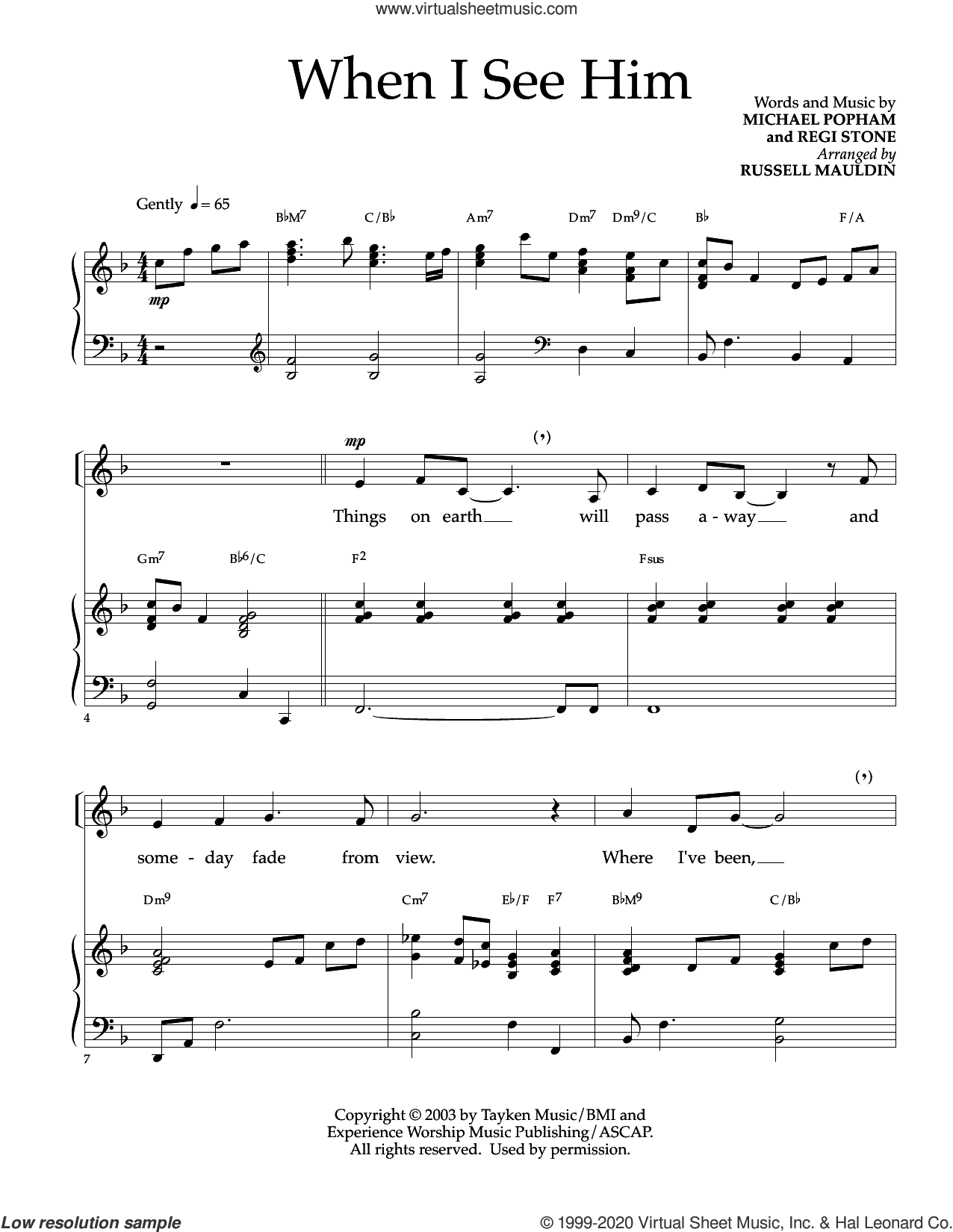 When I See Him (arr. Russell Mauldin) sheet music for voice and piano by Regi Stone, Russell Mauldin, Michael Popham and Michael Popham and Regi Stone, intermediate skill level