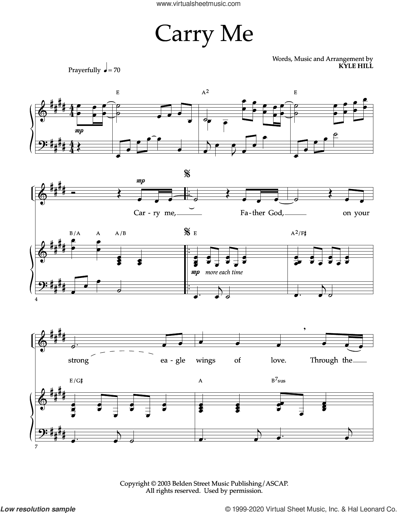 Carry Me sheet music for voice and piano by Kyle Hill, intermediate skill level