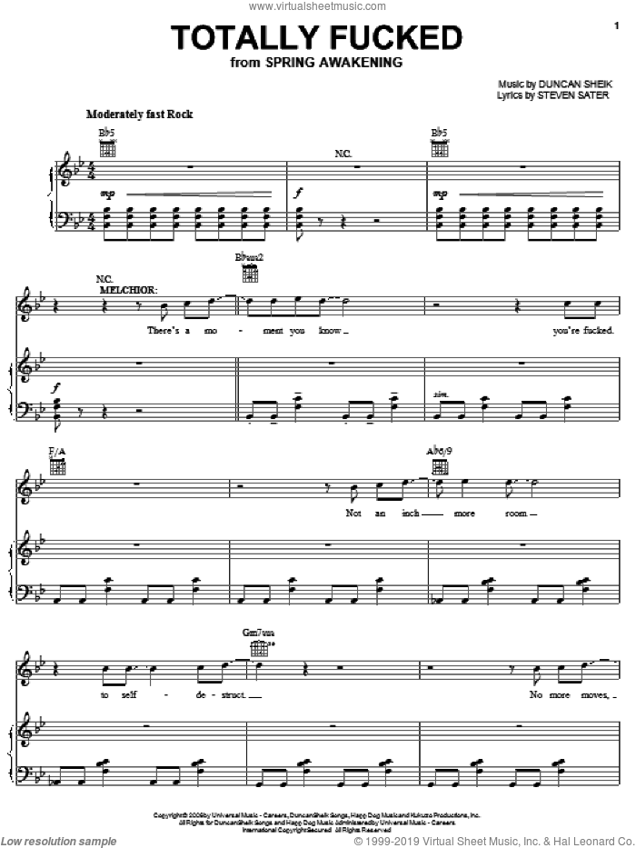 Totally Fucked sheet music for voice, piano or guitar by Duncan Sheik, Spring Awakening (Musical) and Steven Sater, intermediate skill level