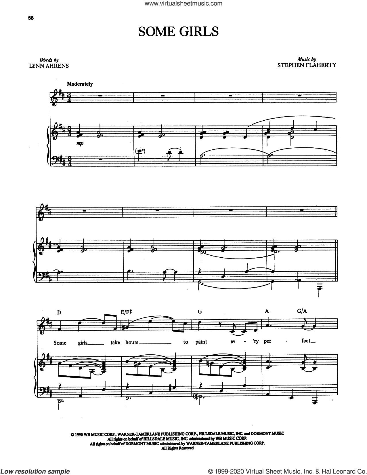 Some Girls (from Once on This Island) sheet music for voice and piano by Stephen Flaherty, The Rolling Stones, Keith Richards, Lynn Ahrens, Mick Jagger and Stephen Flaherty and Lynn Ahrens, intermediate skill level