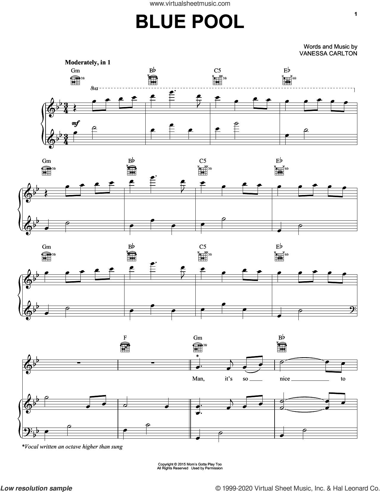 Blue Pool sheet music for voice, piano or guitar by Vanessa Carlton, intermediate skill level