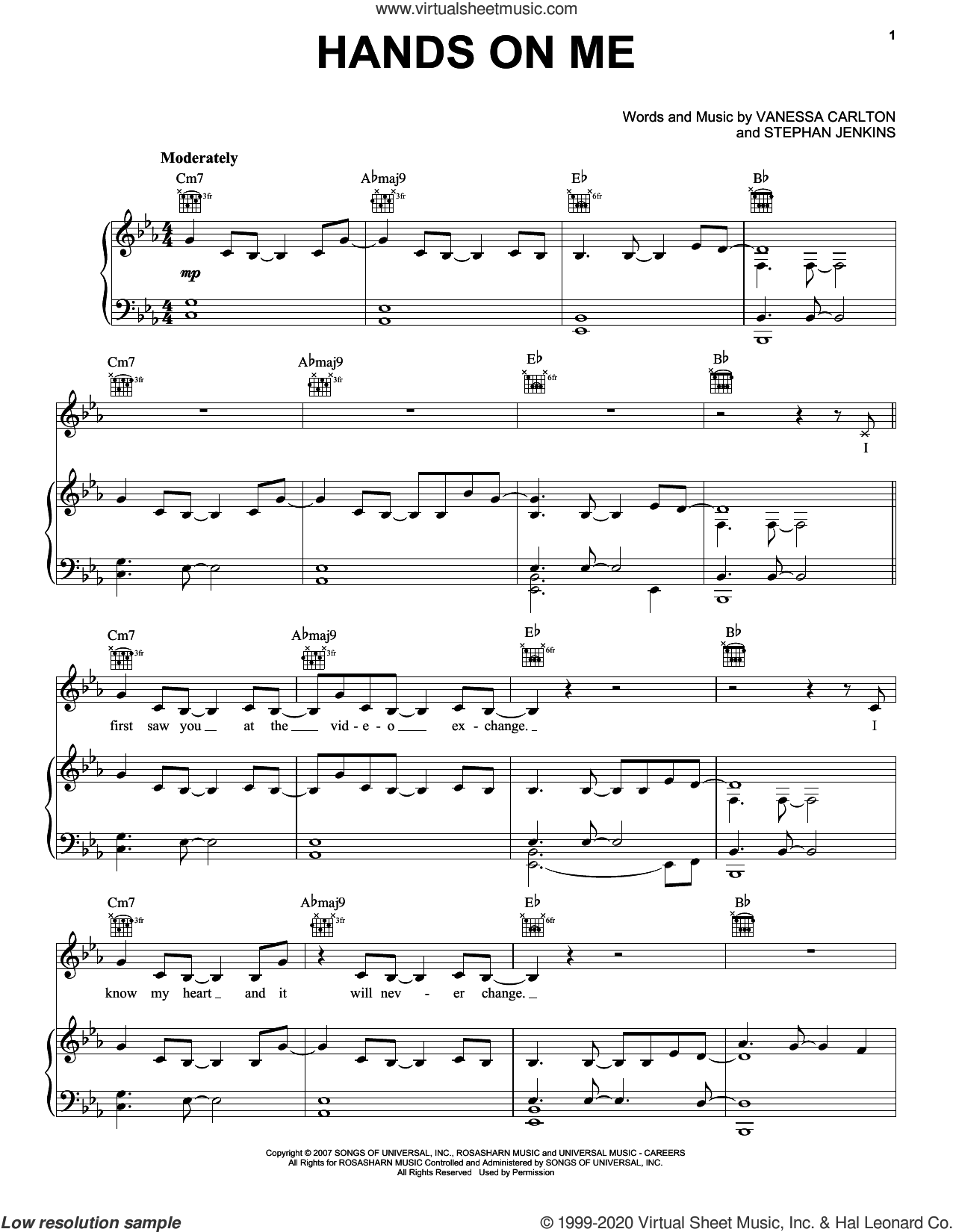 Hands On Me sheet music for voice, piano or guitar by Vanessa Carlton and Stephan Jenkins, intermediate skill level
