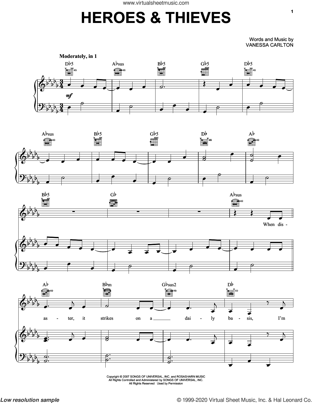 Heroes and Thieves sheet music for voice, piano or guitar by Vanessa Carlton, intermediate skill level