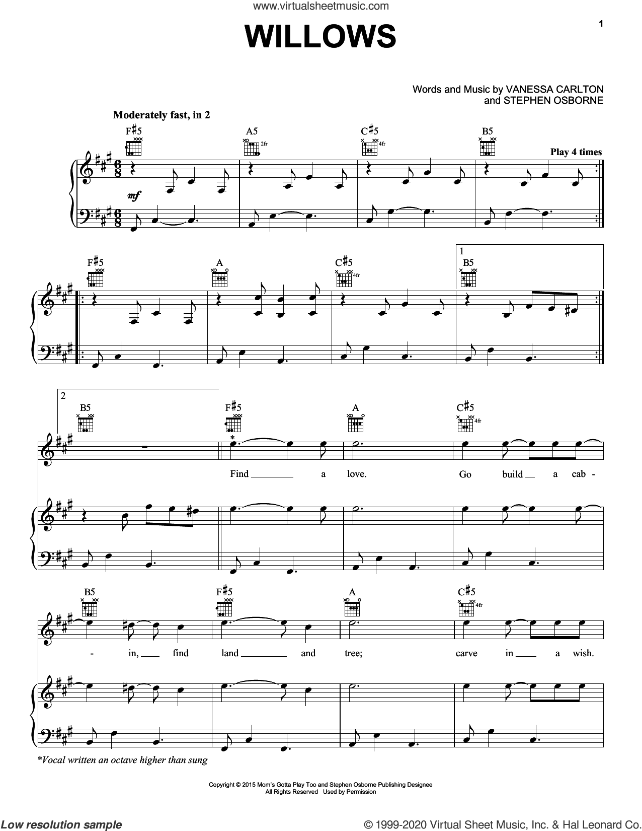 Willows sheet music for voice, piano or guitar by Vanessa Carlton and Stephen Osborne, intermediate skill level