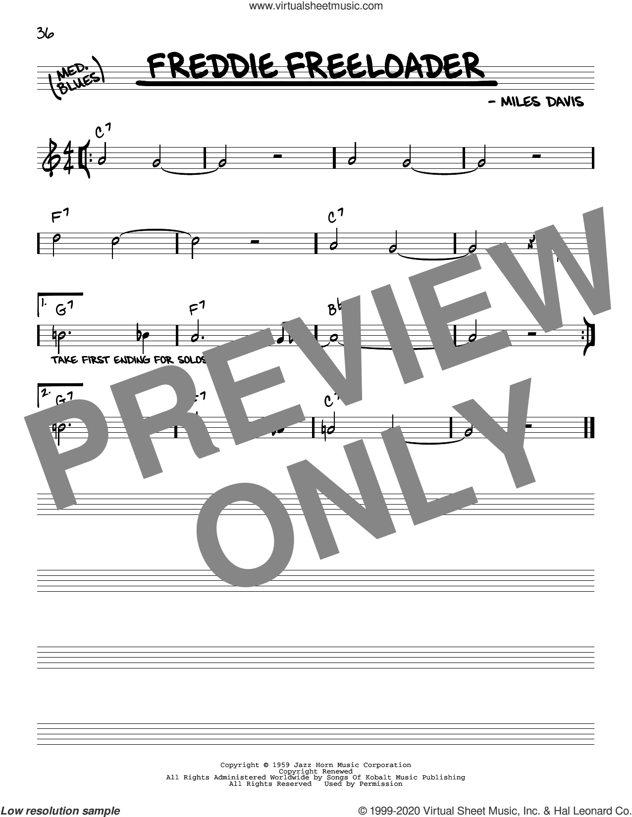 Freddie Freeloader sheet music for voice and other instruments (real book) by Miles Davis, intermediate skill level