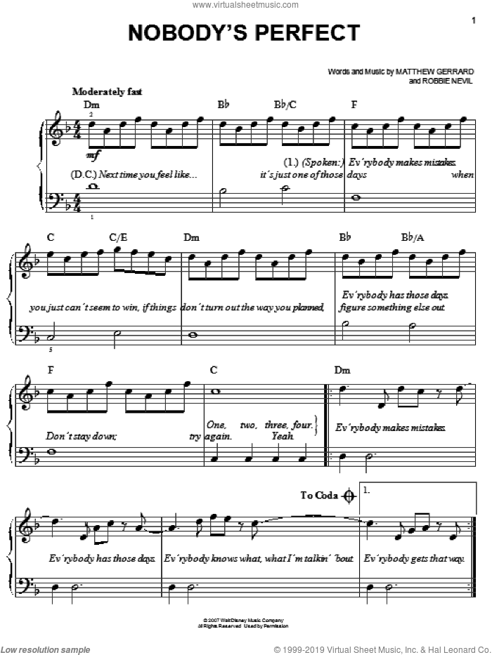 Nobody's Perfect sheet music for piano solo by Robbie Nevil, Hannah Montana, Miley Cyrus and Matthew Gerrard. Score Image Preview.