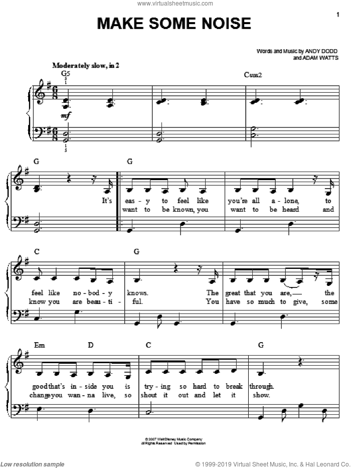 Make Some Noise sheet music for piano solo by Hannah Montana, Miley Cyrus, Adam Watts and Andy Dodd, easy skill level