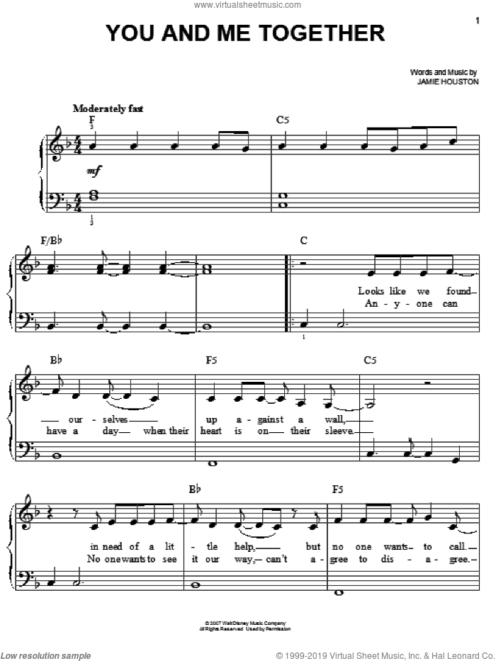 You And Me Together sheet music for piano solo by Hannah Montana, Miley Cyrus and Jamie Houston, easy piano. Score Image Preview.