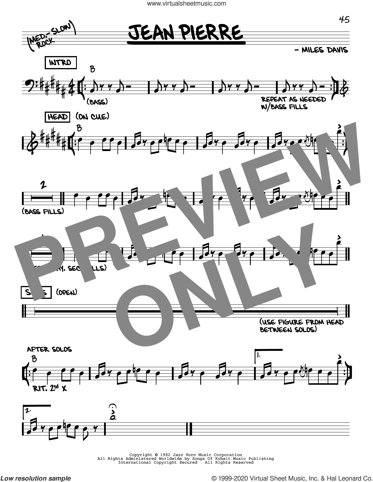 Jean Pierre sheet music for voice and other instruments (real book) by Miles Davis, intermediate skill level