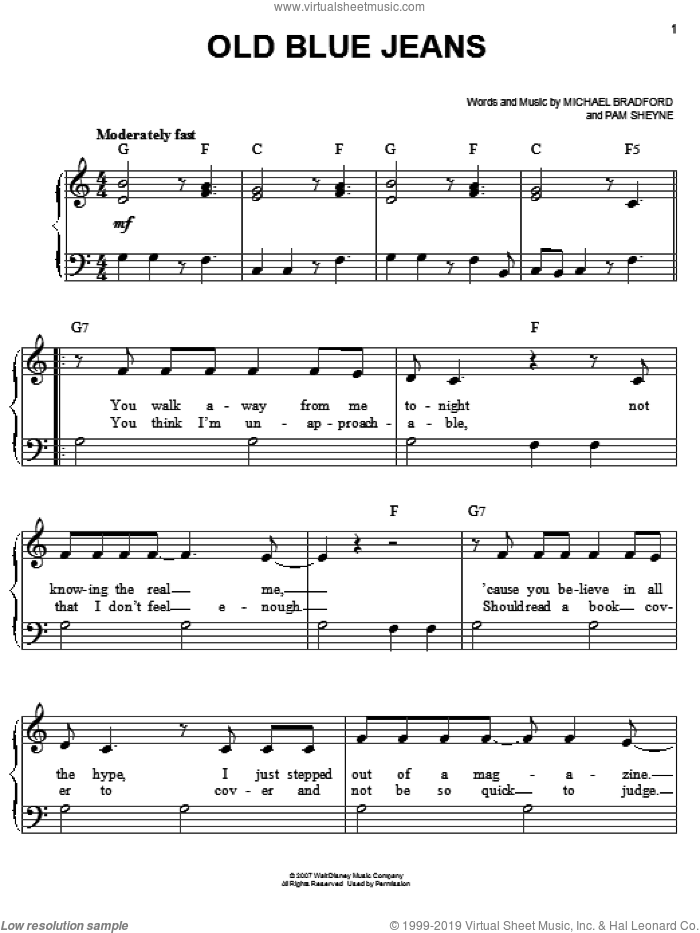 Old Blue Jeans sheet music for piano solo by Hannah Montana, Miley Cyrus, Michael Bradford and Pam Sheyne, easy skill level