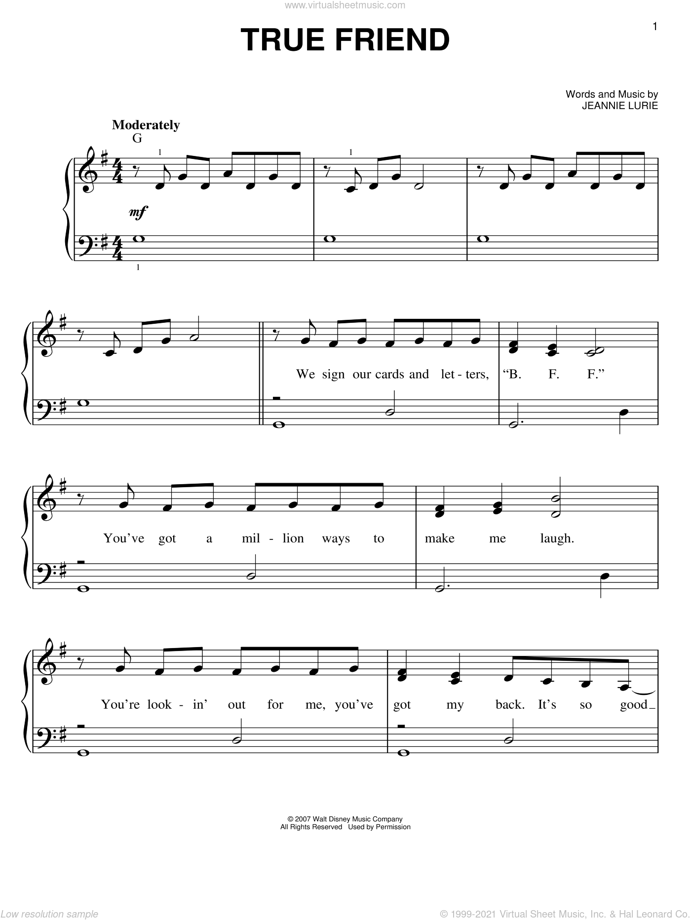 True Friend sheet music for piano solo by Hannah Montana, Miley Cyrus and Jeannie Lurie, easy piano. Score Image Preview.