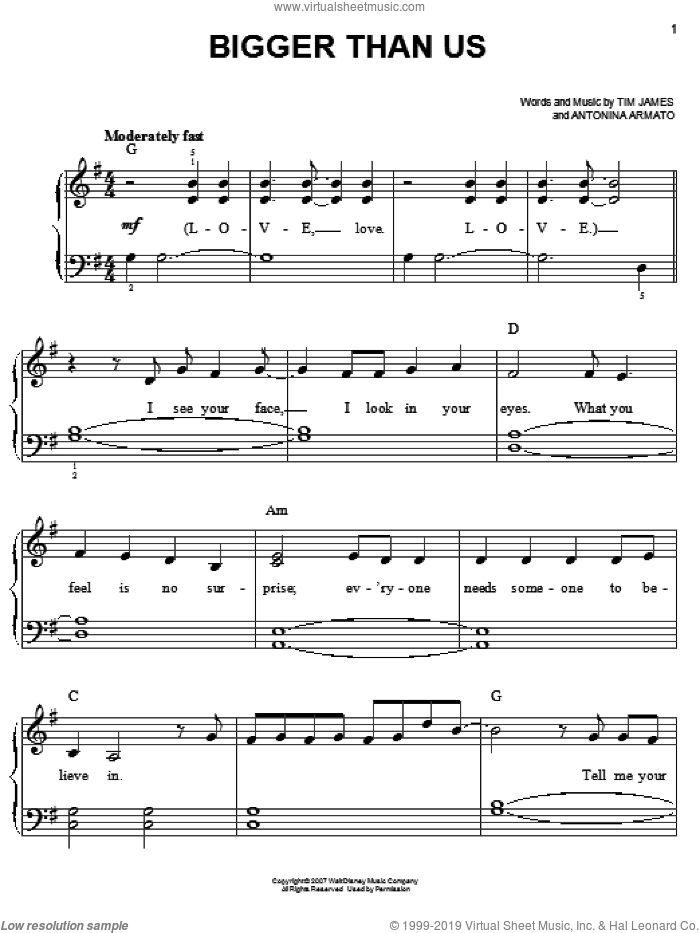 Bigger Than Us sheet music for piano solo by Hannah Montana, Miley Cyrus, Antonina Armato and Tim James, easy skill level