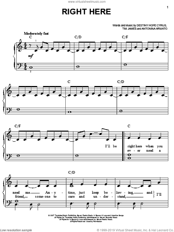 Right Here sheet music for piano solo by Hannah Montana, Miley Cyrus, Antonina Armato and Tim James. Score Image Preview.