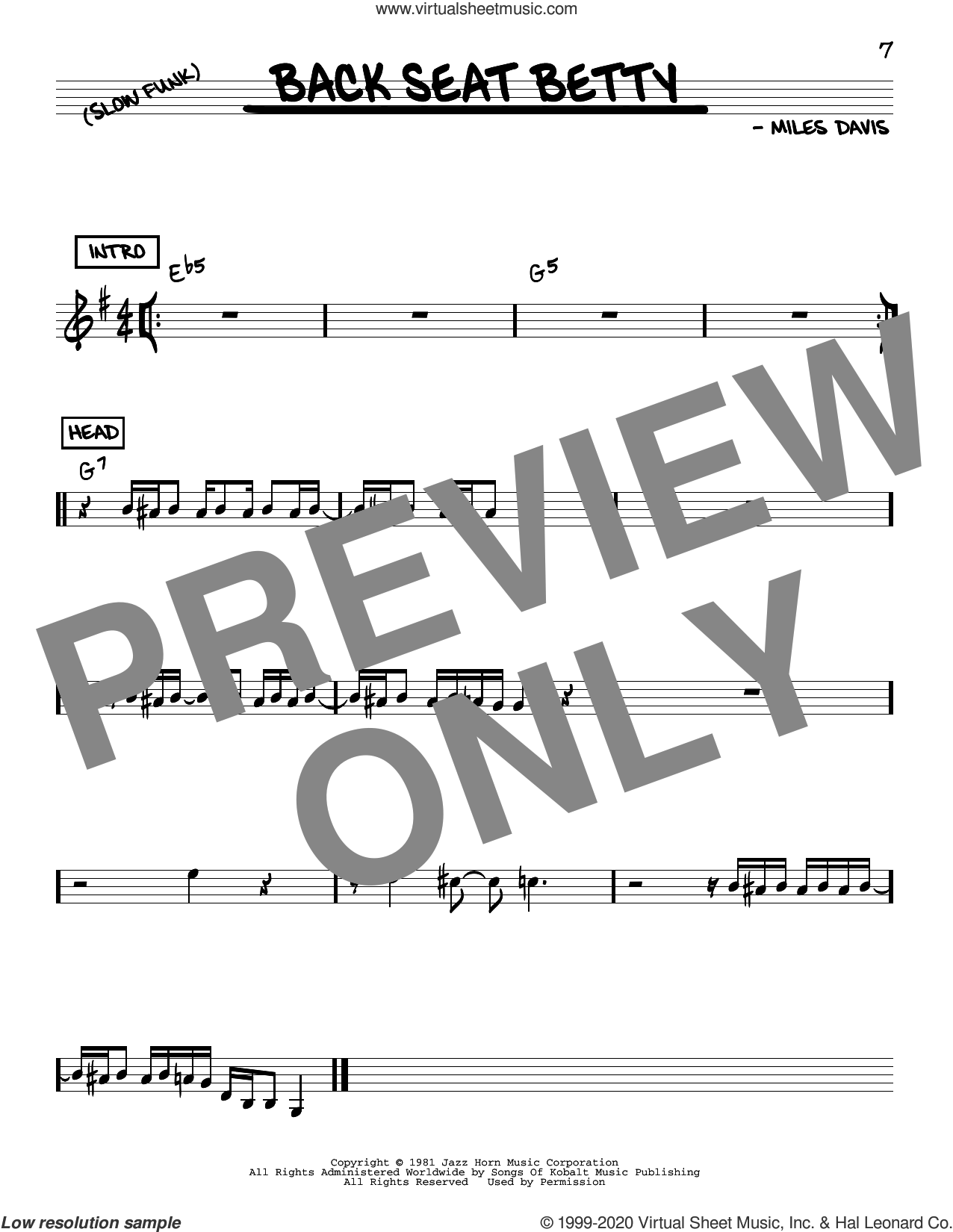 Back Seat Betty sheet music for voice and other instruments (real book) by Miles Davis, intermediate skill level