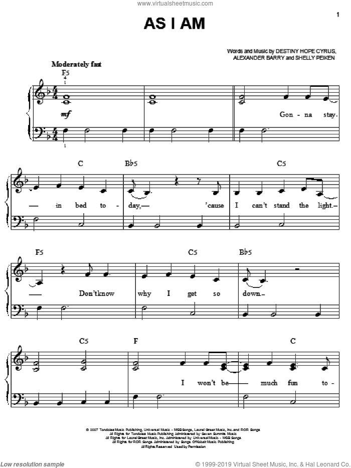 As I Am sheet music for piano solo by Shelly Peiken, Hannah Montana, Miley Cyrus and Alexander Barry. Score Image Preview.