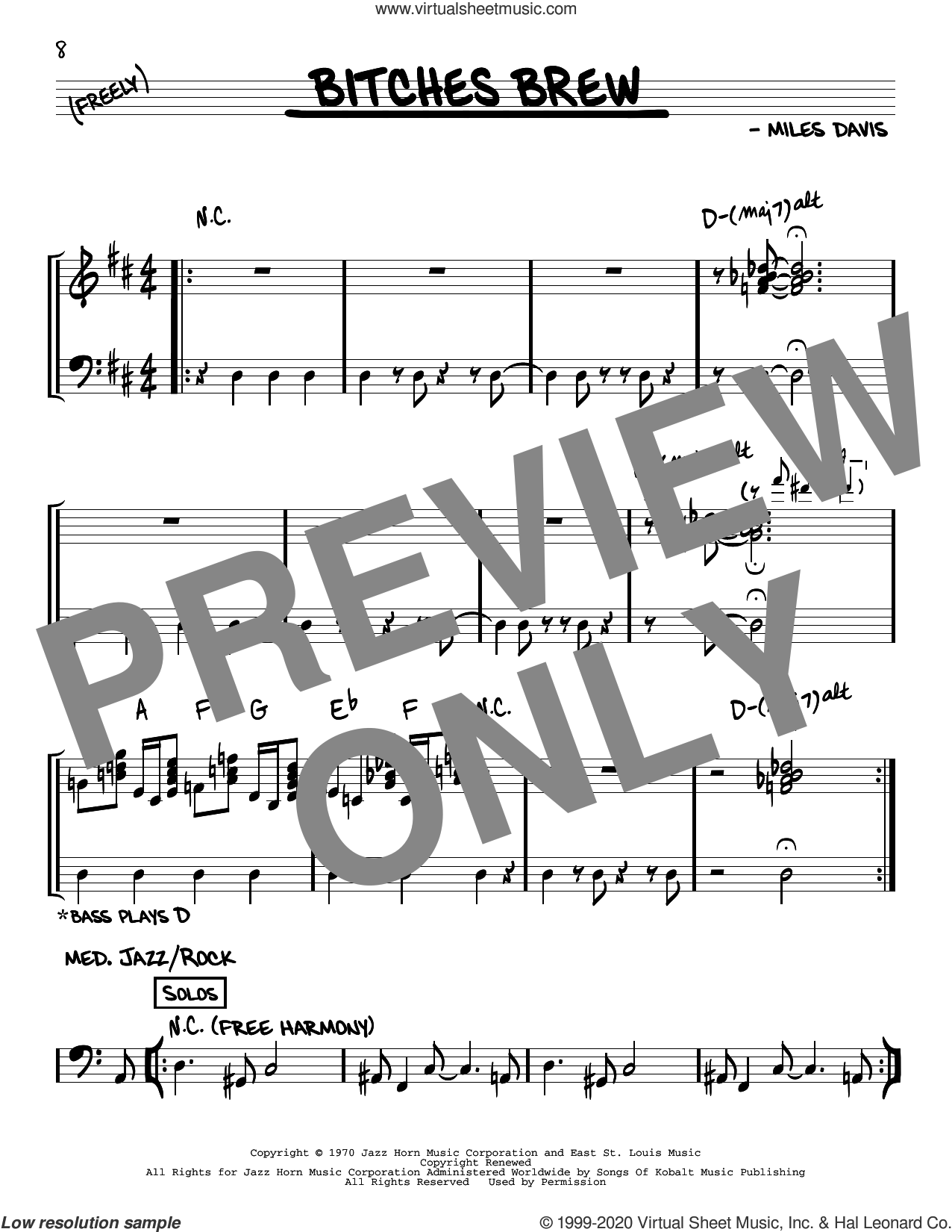 Bitches Brew sheet music for voice and other instruments (real book) by Miles Davis, intermediate skill level