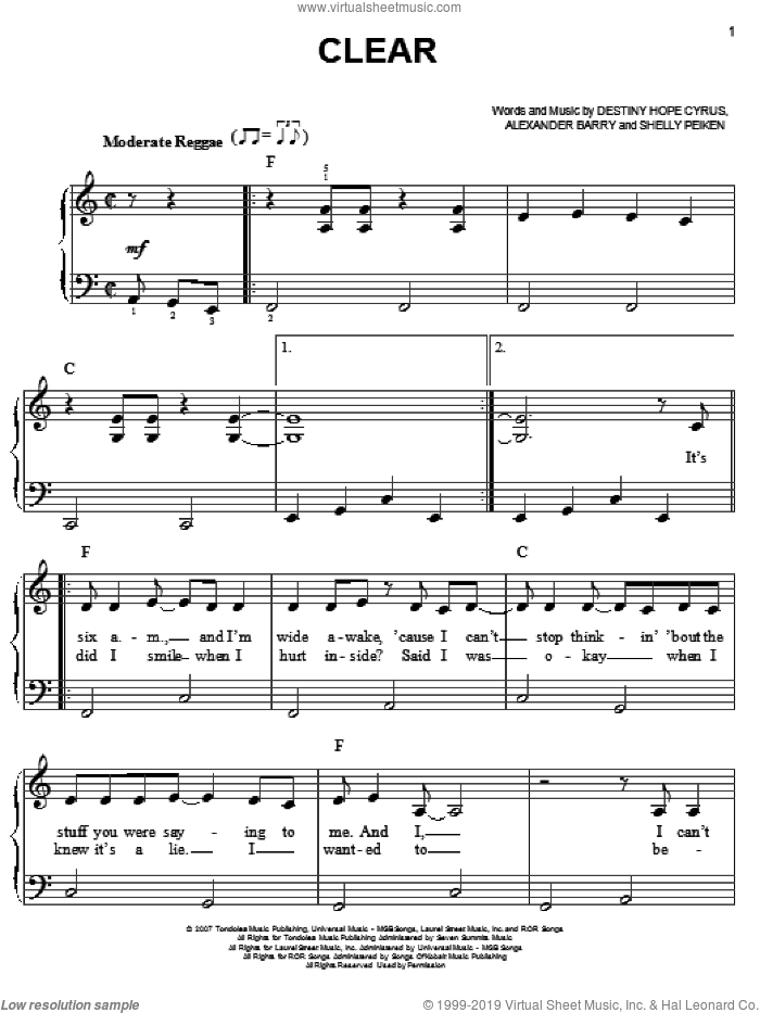Clear sheet music for piano solo by Shelly Peiken
