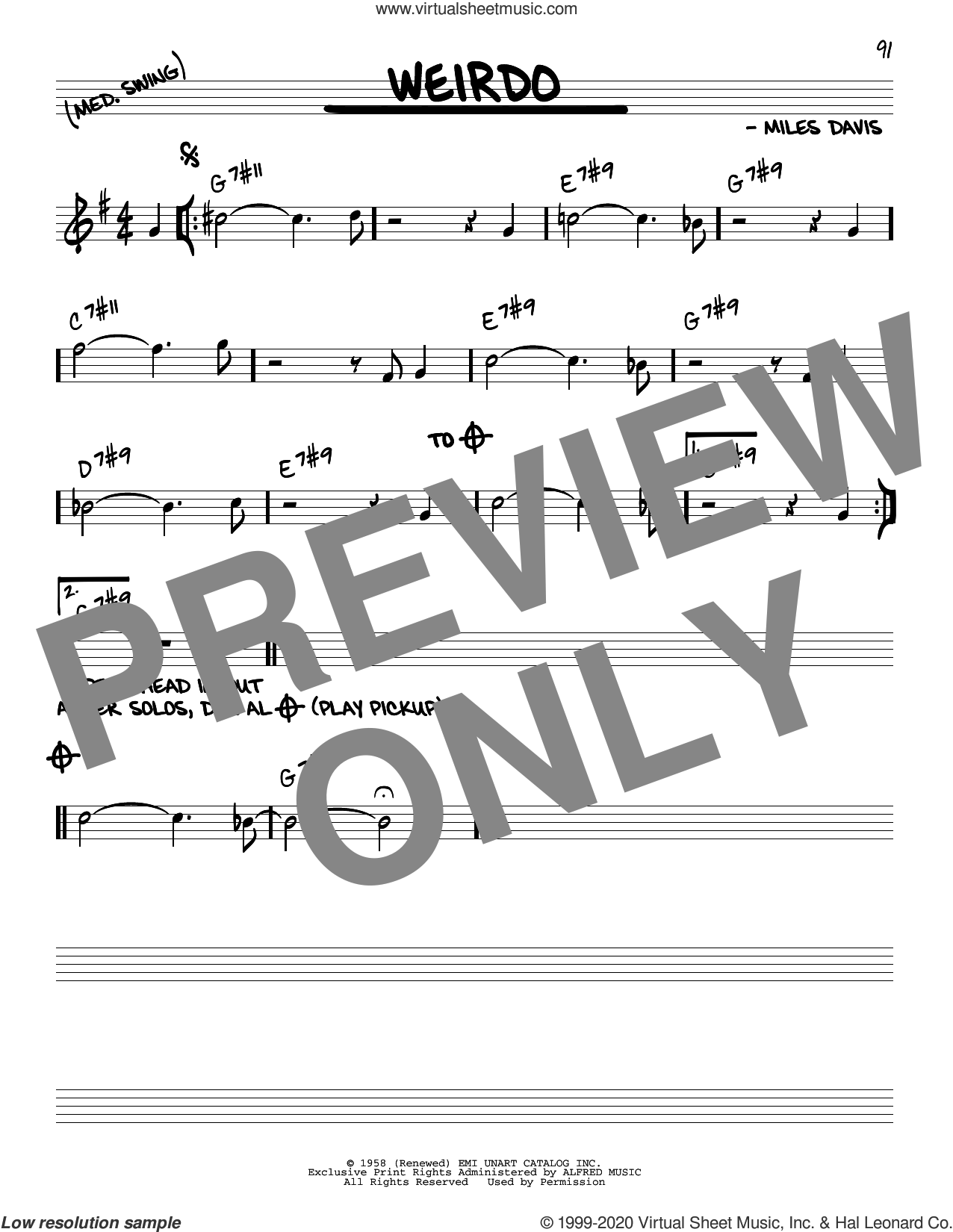 Weirdo sheet music for voice and other instruments (real book) by Miles Davis, intermediate skill level