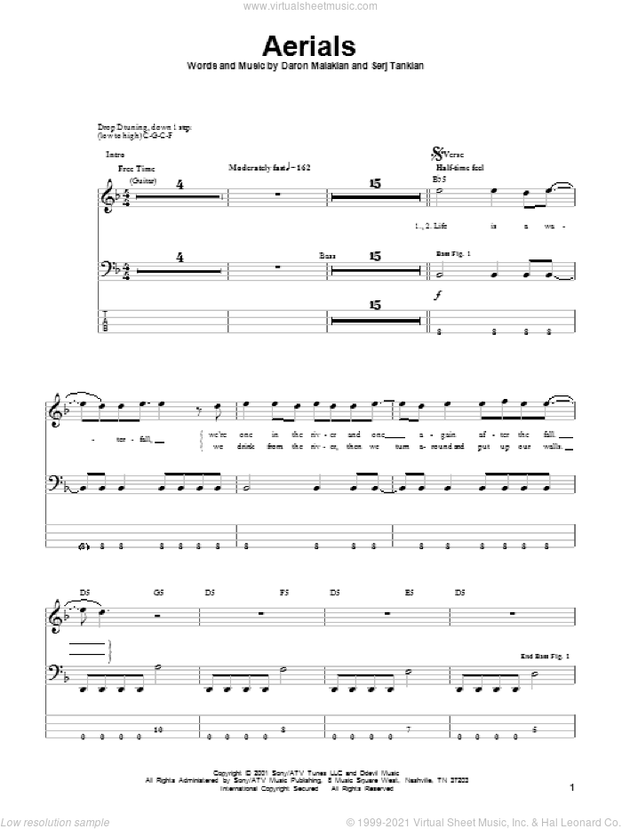 Aerials sheet music for bass (tablature) (bass guitar) by Serj Tankian and System Of A Down. Score Image Preview.