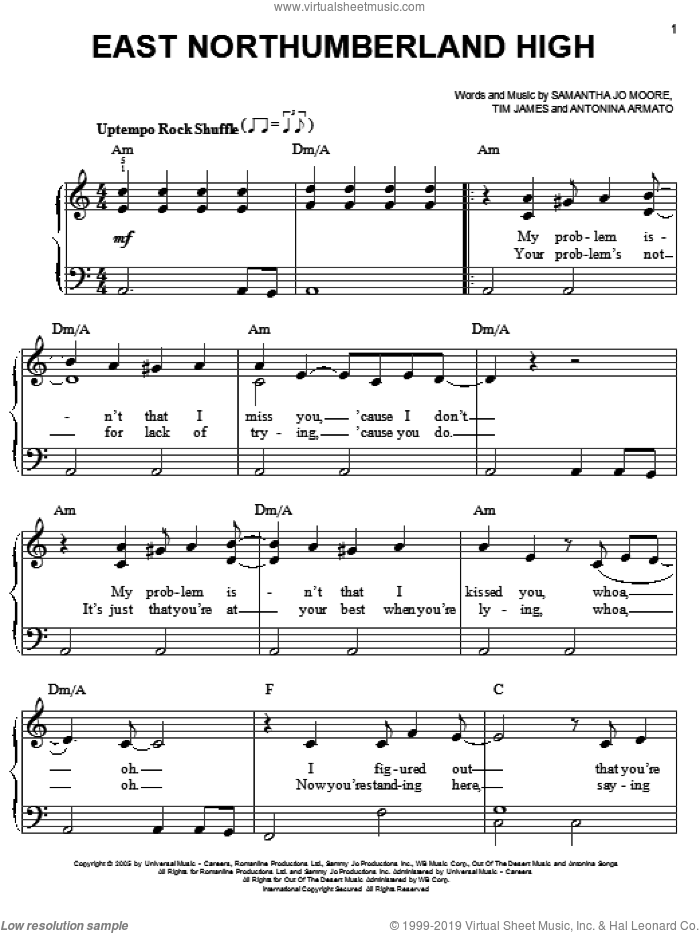 East Northumberland High sheet music for piano solo by Hannah Montana, Miley Cyrus, Antonina Armato, Samantha Jo Moore and Tim James, easy skill level