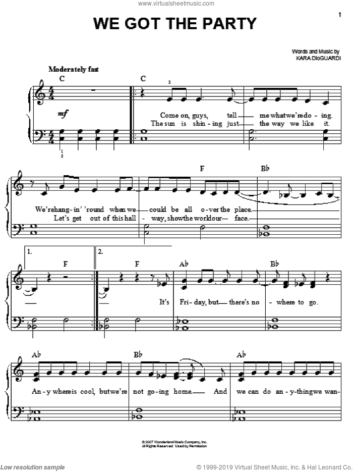 We Got The Party sheet music for piano solo by Hannah Montana, Miley Cyrus and Kara DioGuardi, easy. Score Image Preview.