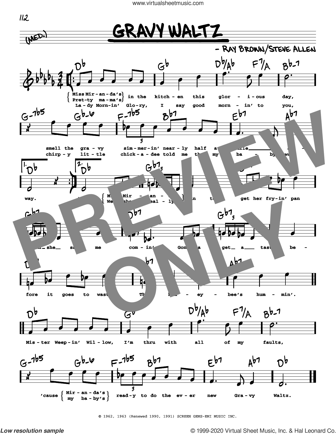 Gravy Waltz (High Voice) sheet music for voice and other instruments (high voice) by Ray Brown and Steve Allen, intermediate skill level
