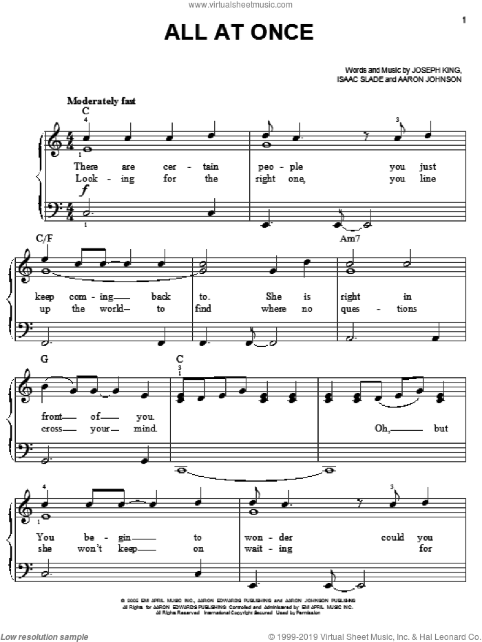 All At Once sheet music for piano solo by The Fray, easy piano. Score Image Preview.