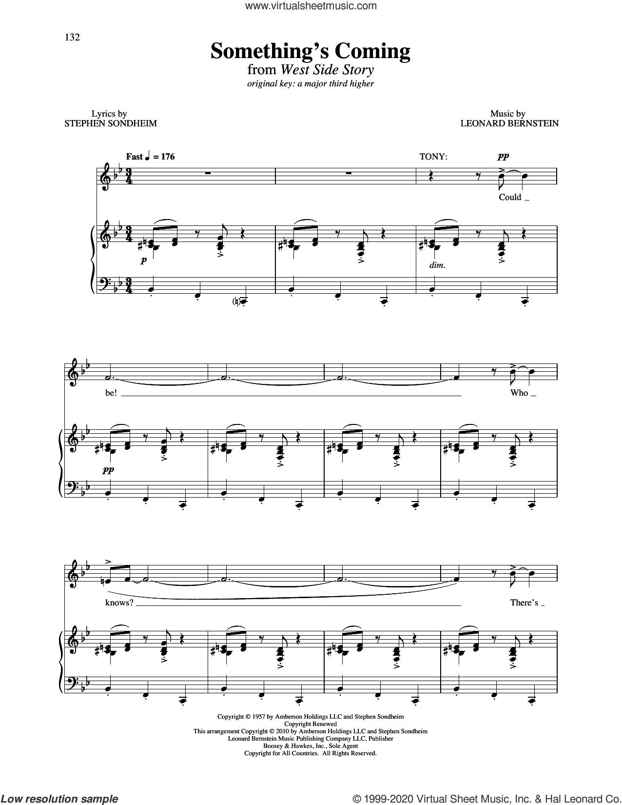Something's Coming (from West Side Story) sheet music for voice and piano (Medium Low Voice) by Leonard Bernstein and Stephen Sondheim & Leonard Bernstein, Richard Walters and Stephen Sondheim, intermediate skill level