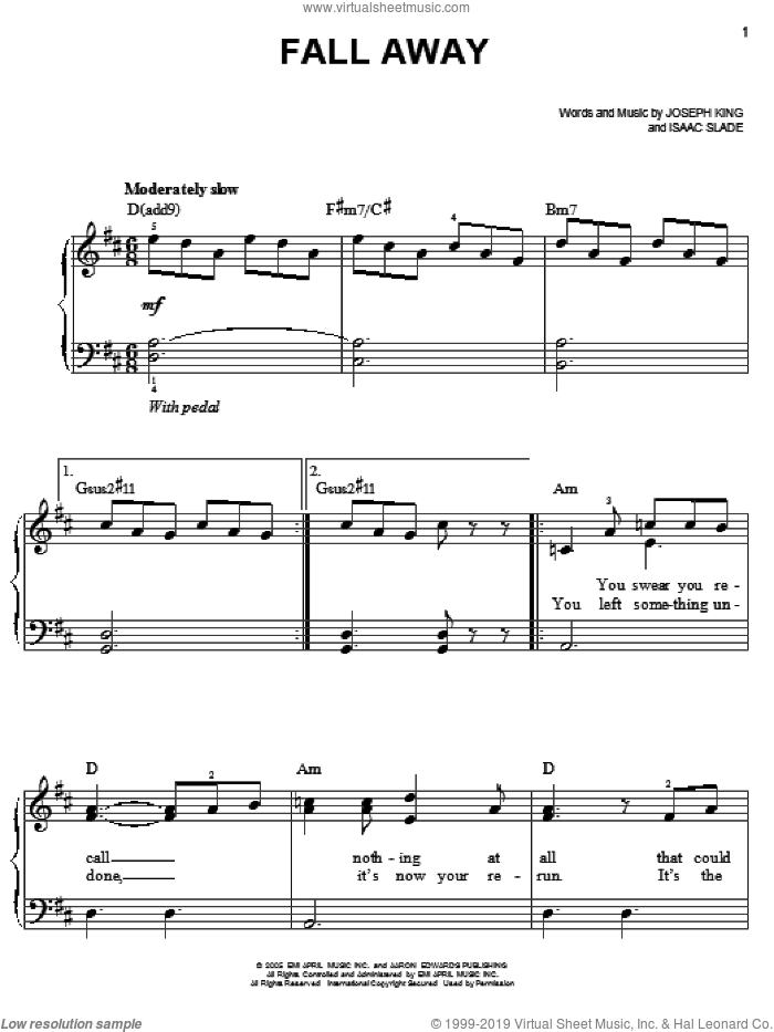 Fall Away sheet music for piano solo by The Fray, Isaac Slade and Joseph King, easy