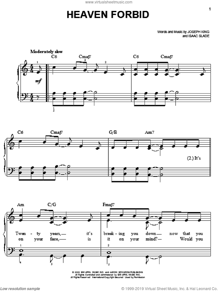 Heaven Forbid sheet music for piano solo by The Fray, Isaac Slade and Joseph King, easy. Score Image Preview.