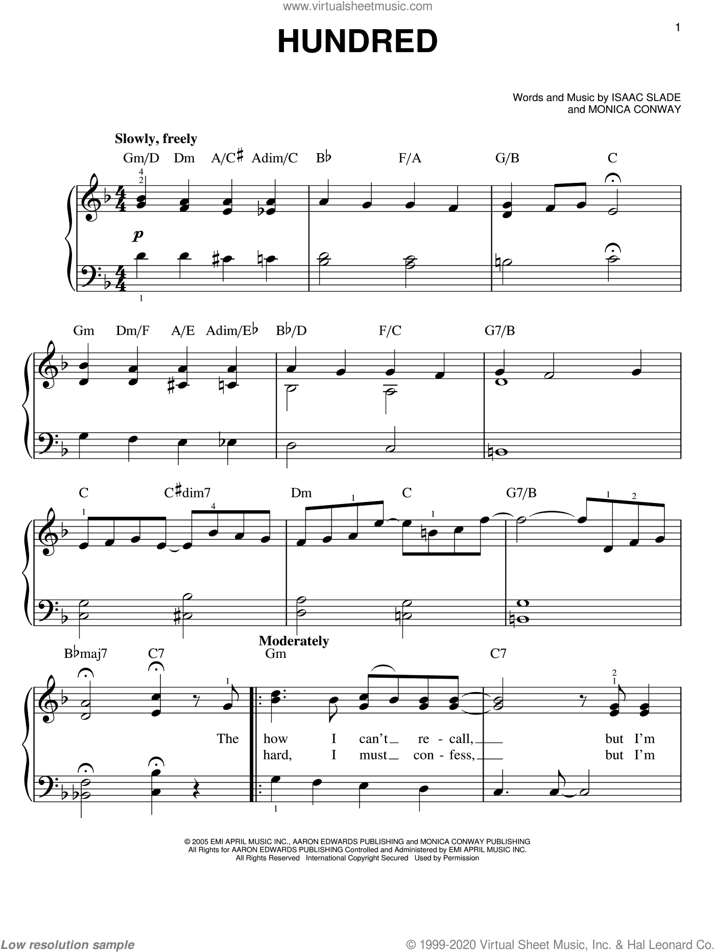Hundred sheet music for piano solo by The Fray, Isaac Slade and Monica Conway, easy skill level
