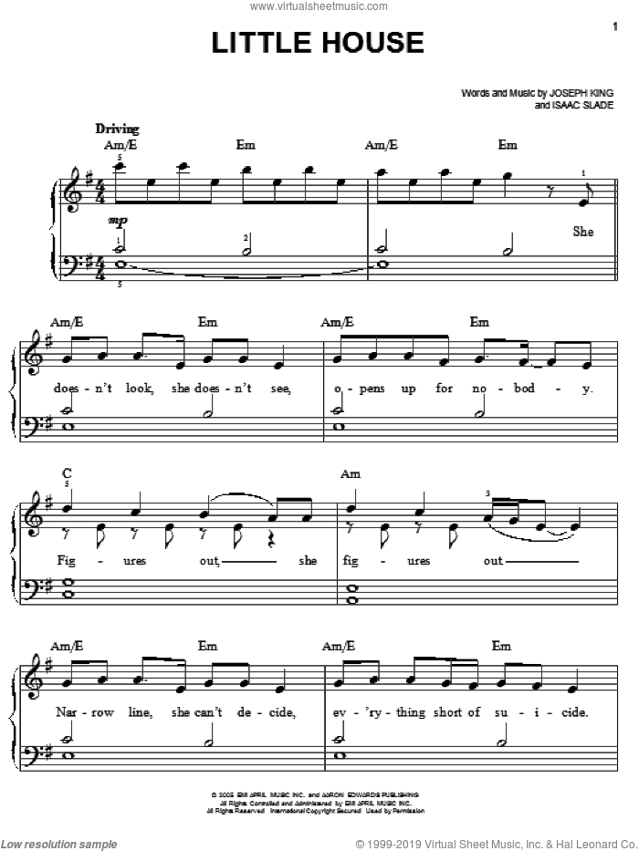 Little House sheet music for piano solo by The Fray, Isaac Slade and Joseph King, easy skill level