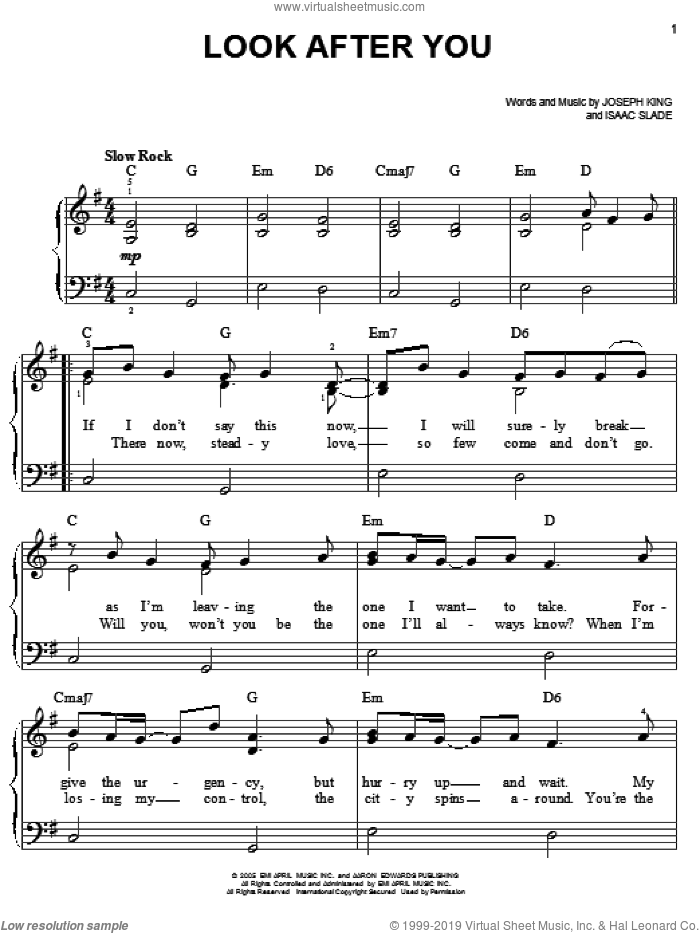 Look After You sheet music for piano solo by The Fray, Isaac Slade and Joseph King, easy skill level
