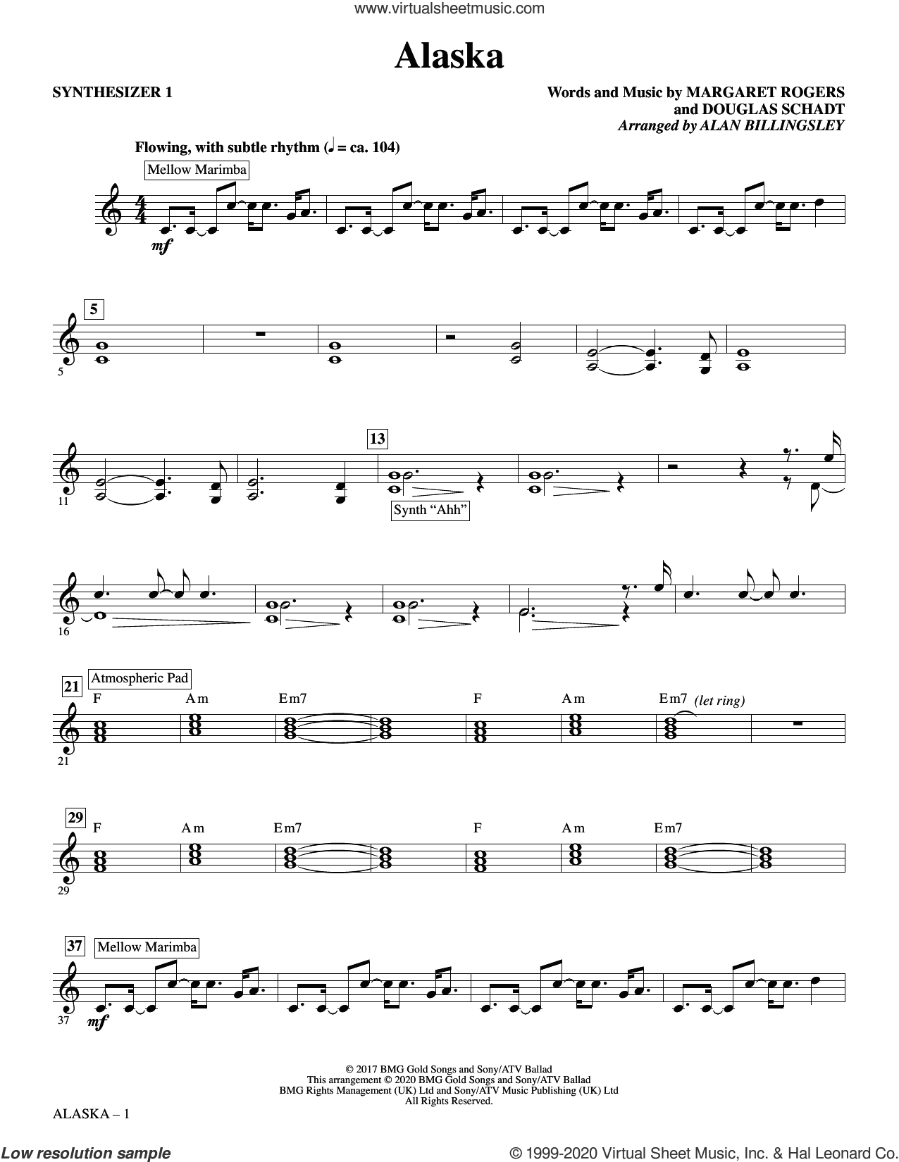 Alaska (arr. Alan Billingsley) (complete set of parts) sheet music for orchestra/band by Alan Billingsley, Douglas Schadt and Maggie Rogers, intermediate skill level