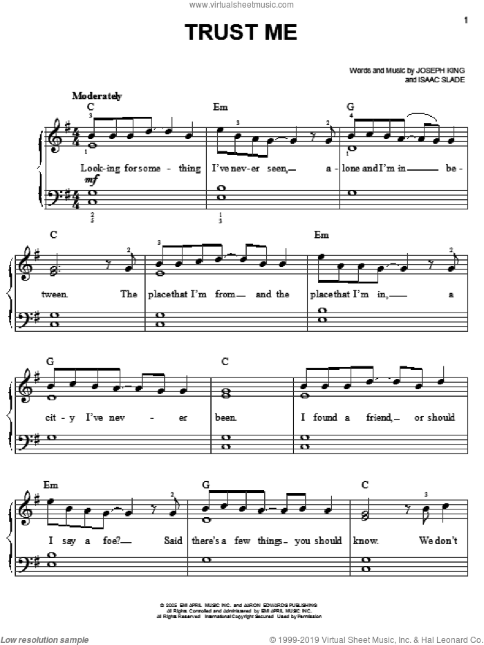 Trust Me sheet music for piano solo by The Fray, Isaac Slade and Joseph King, easy skill level