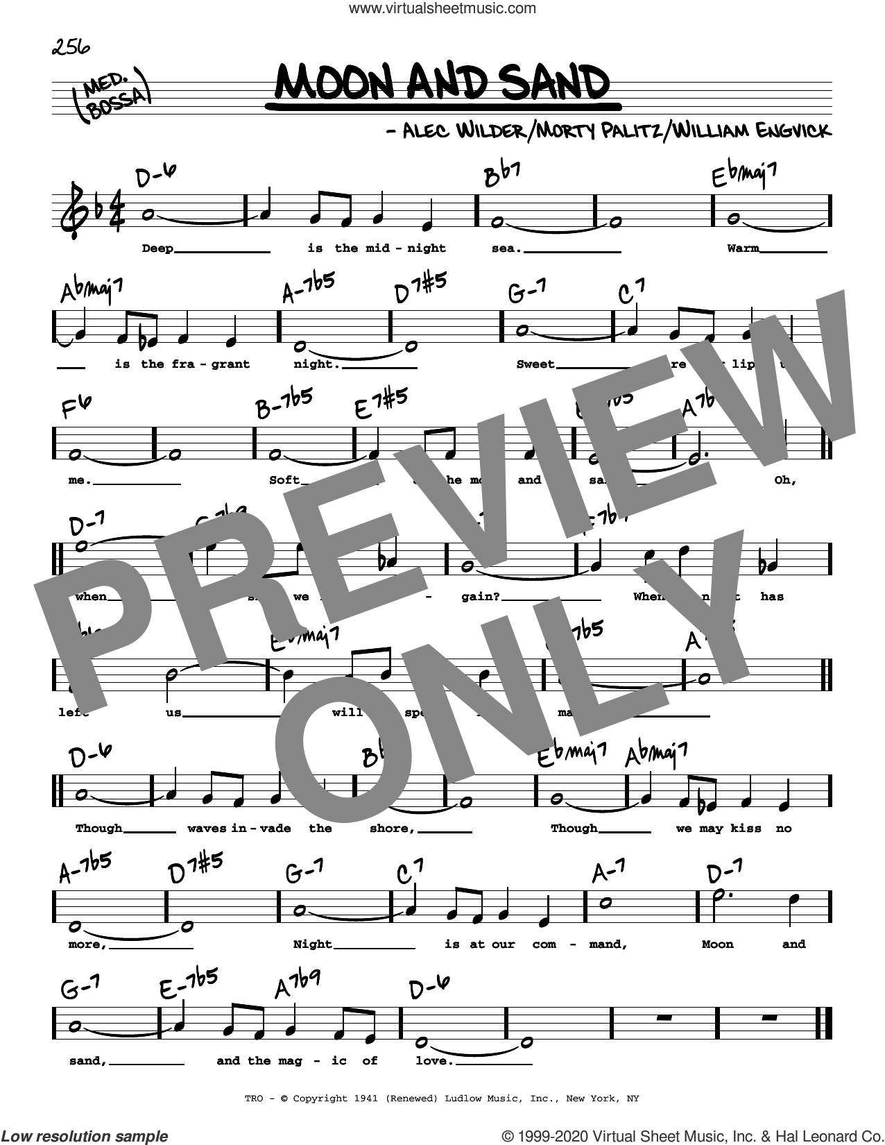 Moon And Sand (High Voice) sheet music for voice and other instruments (high voice) by Alec Wilder, Morty Palitz and William Engvick, intermediate skill level