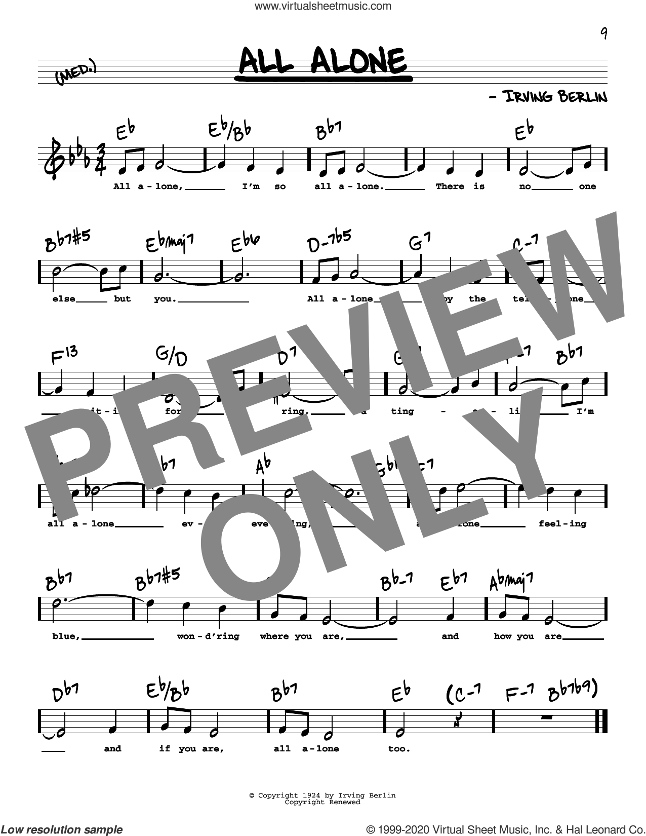 All Alone (High Voice) sheet music for voice and other instruments (high voice) by Irving Berlin, Al Jolson and Alice Faye, intermediate skill level