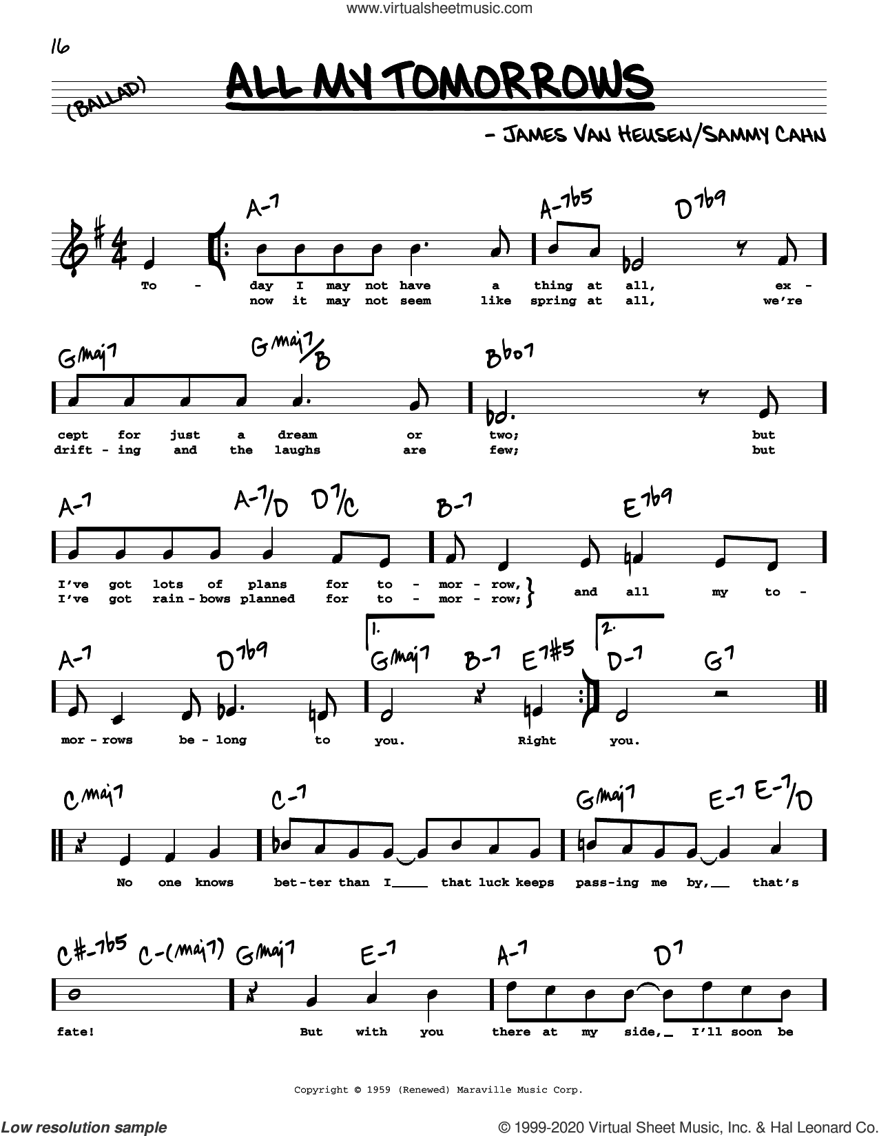 All My Tomorrows (High Voice) sheet music for voice and other instruments (high voice) by Sammy Cahn and Jimmy van Heusen, intermediate skill level