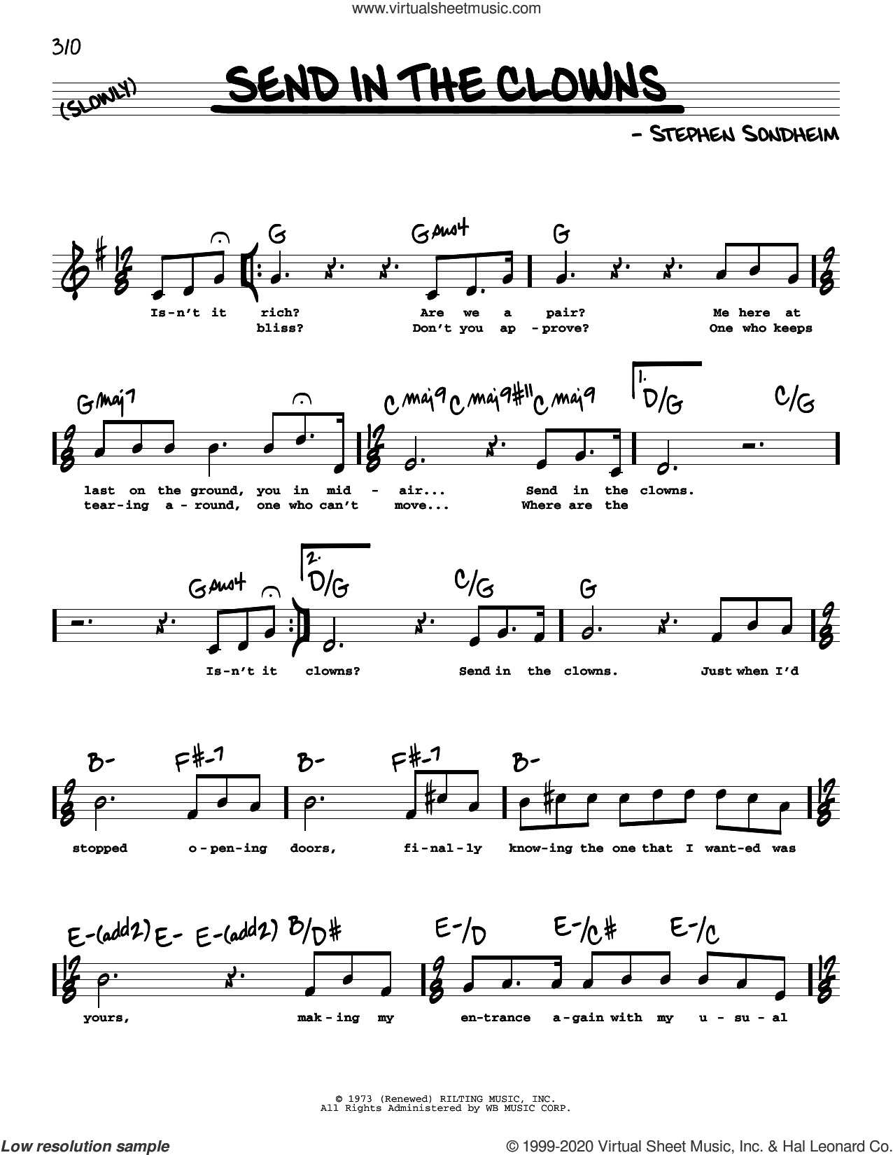 Send In The Clowns (High Voice) sheet music for voice and other instruments (high voice) by Stephen Sondheim, intermediate skill level