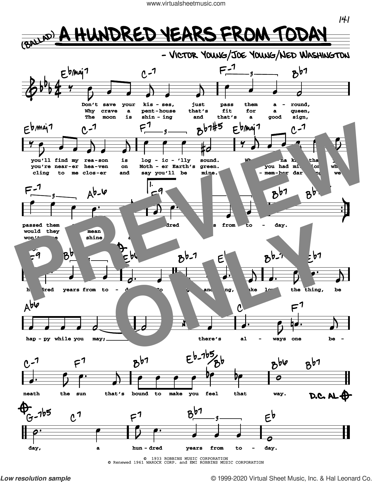 A Hundred Years From Today (High Voice) sheet music for voice and other instruments (high voice) by Frank Sinatra, Joe Young, Ned Washington and Victor Young, intermediate skill level