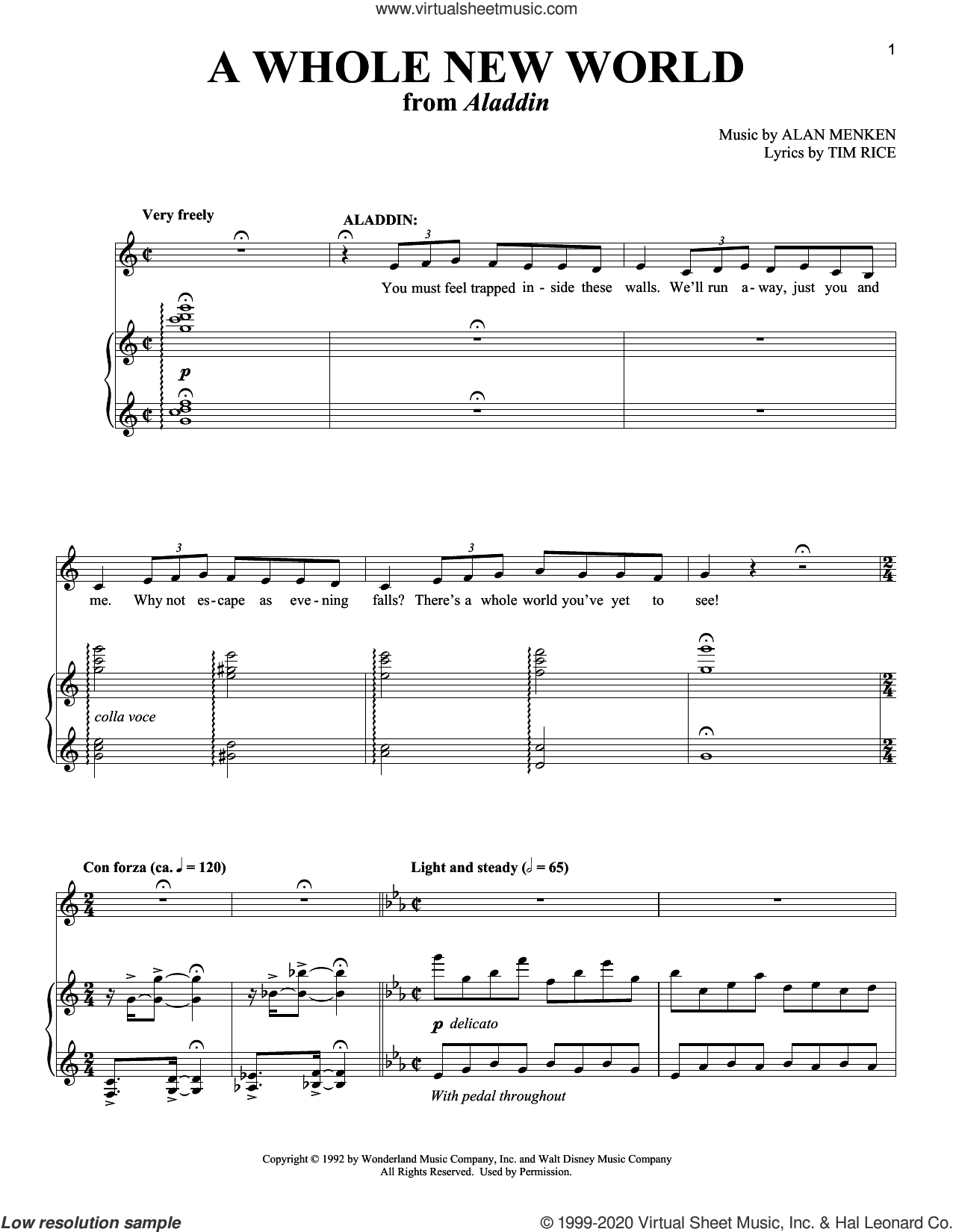 A Whole New World (from Aladdin: The Broadway Musical) sheet music for two voices and piano by Alan Menken, Richard Walters, Alan Menken & Tim Rice and Tim Rice, intermediate skill level