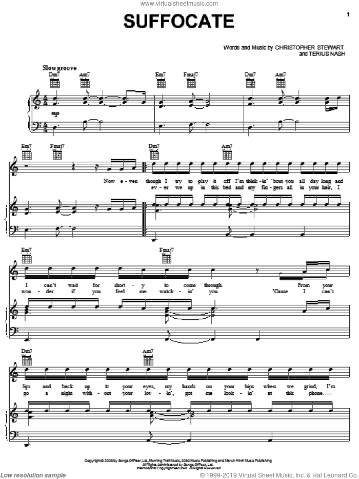 Suffocate sheet music for voice, piano or guitar by J. Holiday, Christopher Stewart and Terius Nash. Score Image Preview.