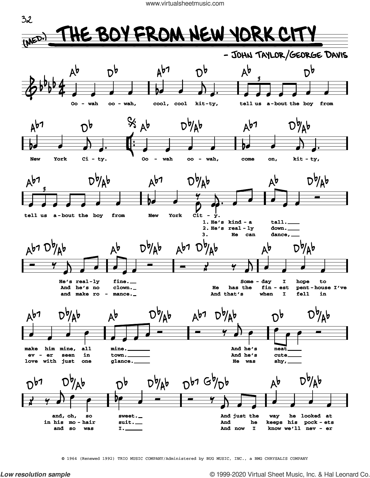 The Boy From New York City (High Voice) sheet music for voice and other instruments (high voice) by Manhattan Transfer, Ad Libs, George Davis and John Taylor, intermediate skill level
